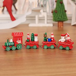 hot adults videos NZ - Hot Sale Wooden Christmas Train Toys Baby Room Home Decorations Cartoon Wooden Dolls Trains Christmas Gifts For Children Adults