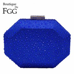 purple crystal evening clutch bag Australia - Boutique De FGG Octagon Shape Women Crystal Clutch Evening Bags Hard Case Luxury Handbags Ladies Metal Clutches Wedding Purse CJ191210