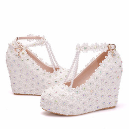 d23980eef3cd White shoes inch heels online shopping - 2019 Wedges White Lace up Wedding  shoes Inches High