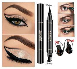 Waterproof stamp online shopping - New CMAADU Brand Liquid Eye Liner Pen Make Up Waterproof Black Double ended Stamp Seal Eyeliner Pencil Cat Eyes Makeup Tool