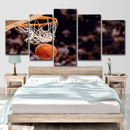 $enCountryForm.capitalKeyWord Australia - HD Printed 5 Piece Canvas Art Basketball Circle Painting Ball Game Wall Pictures for Living Room Modern Free Shipping
