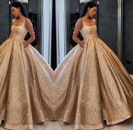 Großhandel Luxus Blingbling Gold Pailletten Ballkleid Pageant Kleider Wunderschöne Bodenlangen Prom Party Kleid Square Neck Abendkleid