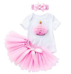 Bodysuit Tutu Clothes Australia - Birthday Girl Summer Clothes Sets 3Pcs Cotton Soft Bodysuit + Tutu Skirt + Headwear Newborn Kids Girls Clothing Outfit Costume