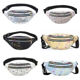 chest pouches UK - Holographic Waist Bags Women Pink Silver Fanny Pack Personalized Leather Geometric Belt Bag Laser Chest Phone Pouch Waist Packs