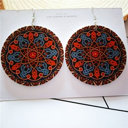 Painting Wood Jewelry Australia - Europe and the United States Africa painted fashion hipster geometric round wood large earrings fashion wood ear jewelry wholesale