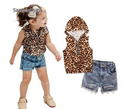 Baby Girl Summer Suits Australia - new 2019 Explosion models children's clothing summer baby girls leopard hooded tops + denim shorts kids suit