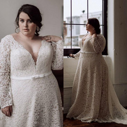 18w Plus Size Wedding Dress Australia - Modest 2018 Plus Size Wedding Dresses with Long Sleeves V Neck A Line Court Train Full Lace Bridal Gowns for Large Size Women