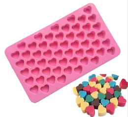 55 heart silicone mold UK - Silicone Heart Shape Chocolate Mold Gummy Candy Maker Ice Tray Jelly Mould 55 Cavity Kitchen Dessert cake bakeware tools solid pink