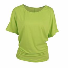 $enCountryForm.capitalKeyWord UK - Women t shirt plus size cotton cut out off shoulder boat neck short sleeve dolman drape loose tunic top for yoga running jogging #40706