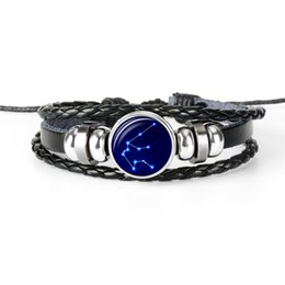 $enCountryForm.capitalKeyWord Australia - High Quality 12 Horoscope Zodiac Aquarius Time Gem Glass Cabochon Button Bracelet Black Leather Rope Beaded Woven Jewelry For Women Men Gift