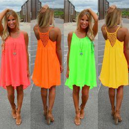 Sexy vestidos casuais mulheres verão sem mangas evening dance party beach dress curto chiffon mini dress senhoras solto clothing vestuário