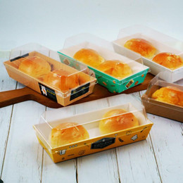 $enCountryForm.capitalKeyWord Australia - Rectangular Bread Cake Sandwich Snack Wrapping Boxes with Clear Plastic Lids Disposable Cardboard Packing Box for Party