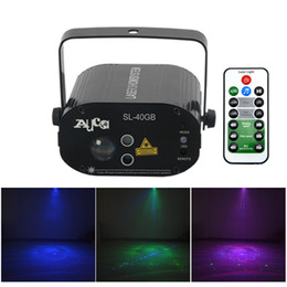 Stage Machines NZ - AUCD Mini AC110-240V Green Blue LED Lights IR Remote Voice Control Holiday Decoration DJ Party Projector Machine Laser Stage Lighting W-40GB