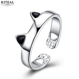 $enCountryForm.capitalKeyWord Australia - KITEAL Hot sale! silver color size 8 women engagement ring cat head ear simple style anillos to.us bear margarida