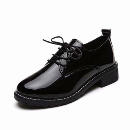 Woman Shoes Low Heels NZ - Designer Dress Shoes women spring autumn new low heels platform black pumps ladies fashion patent leather lace up casual female footwear