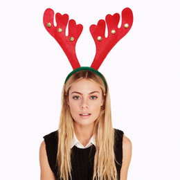 reindeer kids NZ - Reindeer antler Hairband Bell Deer Horn headbands Ear head Hoops Christamas Halloween Party Decorations adult kids children wear CNY954