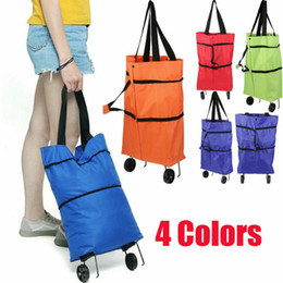 shopping bag trolley groceries Canada - NEW Folding Bags wheels on Trolley Lightweight Grocery Shopping Foldable Shopper with 2 Wheels