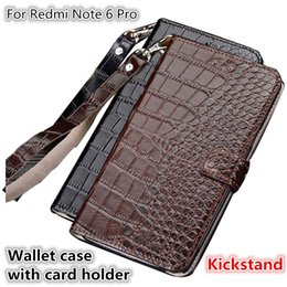 $enCountryForm.capitalKeyWord NZ - QX10 Crocodile Texture Gneuine Leather Wallet Case With Card Holders For Xiaomi Redmi Note 6 Pro Phone Case Fundas With Lanyard