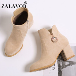 Simple ShoeS bootS online shopping - ZALAVOR Plus Size Simple Women Ankle Boots Zipper Solid Color Thick Heels Shoes Winter Warm Daily Club Women Footwear