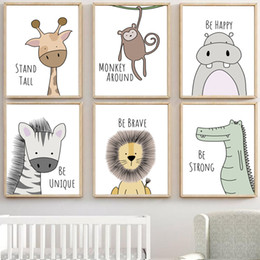 Kids Baby Pictures NZ - zebra Hippo Giraffe Lion Crocodile Nursery Wall Art Canvas Painting Nordic Posters And Prints Wall Pictures Baby Kids Room Decor
