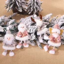 christmas tree angel Canada - Lovely Old Man Snowman Elk Angel Plush Doll Hanging Pendants Christmas Tree Ornaments Christmas Decorations Gifts Toys for Kids