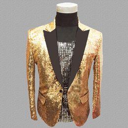 Gold Dance Costume Dresses Australia - gold sequins blazer men suits designs jacket mens stage costumes for singers clothes dance star style dress punk masculino homme
