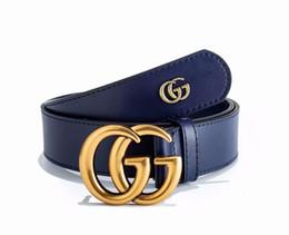 Golden Letter Belt UK - 2019 Brand new cowhide leather belt classic style leather belt double letter copper buckle men and women casual belt