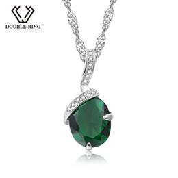 Necklaces Pendants Australia - Double-r 925 Silver Pendant Necklace Created Emerald 1.91ct Gemstone Zircon Chain Necklace For Women J190613