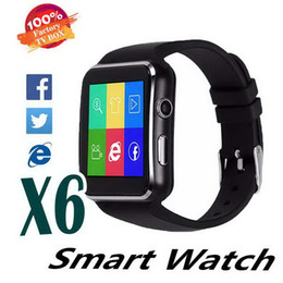 sim card smart watch sony NZ - Curved Screen X6 Smartwatch Smart Watch Bracelet Phone With SIM TF Card Slot With Camera For Samsung LG Sony All Android Mobile Phone DHL