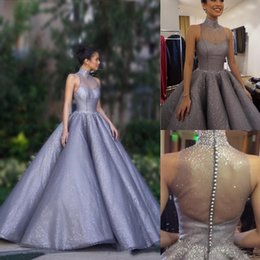 Wholesale collar sleeveless button dress for sale – plus size Luxury Lavender Crystal Prom Dresses High Neck Floor Length See Through Back Party Gowns Pleat Satin Long Ball Gown Evening Wear