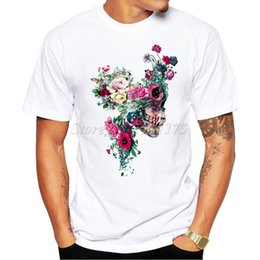 men floral t shirt wholesale 2019 - 2019 Men's Summer Hipster Floral Skulls Design T Shirt Popular Customized Printed Tops Fashion Tees cheap men flora