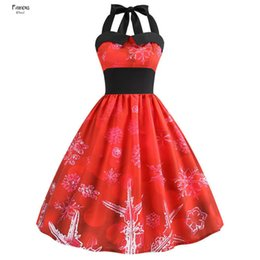 vintage swing Australia - Christmas Dress Up Women Sexy Halter Vintage Red Dress Knee Length Casual Floral Print Pin Vestido Rockabilly Swing Party Dresses