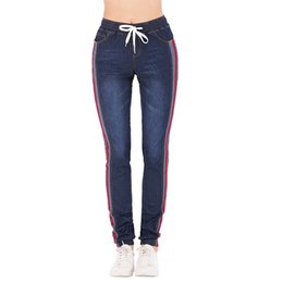 Womens casual trousers online shopping - Puimentiua Womens Jeans High Waist Side Striped Trousers Patchwork Straight Jeans Drawstring Casual Pants Plus Size XL