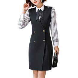 Female Office Suits Australia - Women Autumn Vest Dress Suits Female Elegant Full Sleeve Shirt 2 Pieces Suits With Formal Office Work Tunics Pencil Dress 4XL