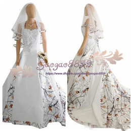 White Wedding Dress Black Veil Australia - 2018 real picture White Camo Satin Wedding Dress Custom Lace Appliques Bridal Gowns Lace Up Back With Veil Custom Long Camouflage cheap