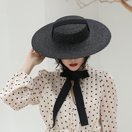 Discount long beach hats Wide Brim Black Straw Hat Women Long Ribbon Vintage Style Summer Hats Lace-Up Vacation Beach Sun Hat UV Protection Visor
