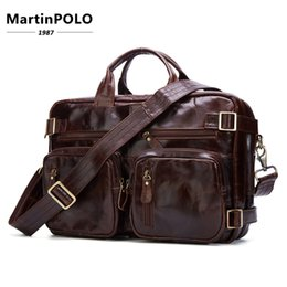 Man Leather Travel Bags NZ - Genuine Leather Shoulder & Handle Man Bags Oil-cowwide Layer Leather Gift Bag Travel Out Bags Water Proof Briefcase Man