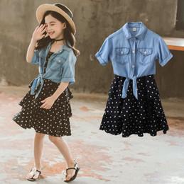 Wholesale Big Bow Shirt Australia - Big kids outfits girls polka dots suspender cake dress+lapel single breasted lace-up Bows short sleeve shirt 2pcs sets fit 3-12T F7486