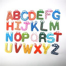 $enCountryForm.capitalKeyWord NZ - 26PCS Wooden Fridge Magnet Alphabet Intelligence Sticker Lovely Classroom Office Whiteboard Gadget Toy Kids Children Magnetic