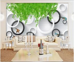 house vine UK - 3D wall covering custom mural wallpaper Vine green 3d three-dimensional circle background painting flower wall home decor wall papers