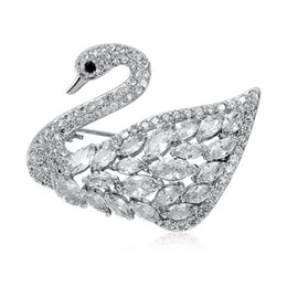 Wholesale Top Grade Swan Brooch Zircon Brooch Alloy Plating Pin Elegant Pins Rhinestone Dress Corsage Party Clothing Jewelry Accessories