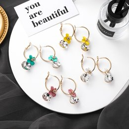 Wholesale New Popular Fashion Circle Hoop Earrings for Women Colored flowers Ear Ring boucle d oreille anneau Steampunk Round Earring