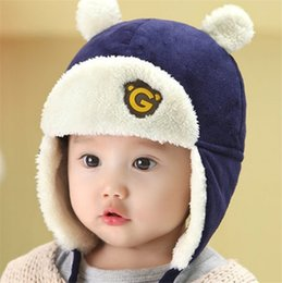 f2d2e3f8a2b3 Cute Bear Letter G Winter Baby Pilot Knitted Trapper Hat Kid Crochet  Headband Cap Children Birthday Party Beanies Boys Girls Knitting Hats