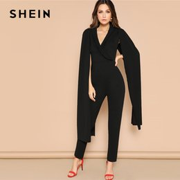 f615301800c SHEIN Glamorous Black Exaggerate Cape Sleeve Tailored Wrap Plain Jumpsuit  Spring Deep V Neck High Waist Women Jumpsuits