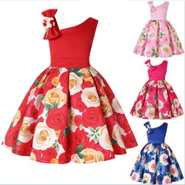 206ae02763119 Big Bow Sloping Shoulder Dress for Kids Birthday Party Baby Girls Clothing  Blue Red Rose Flower Print Gown Dresses 2-9 year old children