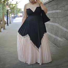 elegant sexy dinner dresses 2019 - Summer Vintage Sexy Office Ladies Plus Size Women Long Dresses High Waist Pleated Retro Elegant Dinner Party Female Maxi