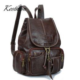 a23664073143 Kesthton Известные брендовые женские рюкзаки для девочек-подростков  винтажные коричневые кожаные рюкзаки из искусственной кожи для мягких  женских плеч