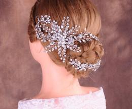 $enCountryForm.capitalKeyWord Australia - Luxury Long Chain Jewelry Wedding Bridal Rhinestone Headband Hair Band Crystal Crown Tiara Princess Queen Hair Ornament Headdress Silver