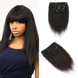 $enCountryForm.capitalKeyWord Australia - Russian Hair Afro Kinky Straight Clip In Extensions 8-30 Inch Natural Black For Black Women no shedding wholesale cheap FDshine HAIR