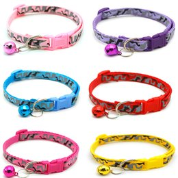 $enCountryForm.capitalKeyWord Australia - Cat Puppy Dog Collar With Bell Camo Print Neck Strap Adjustable Buckle Kitten Small Dogs Chihuahua Collar Charms Pet Accessories